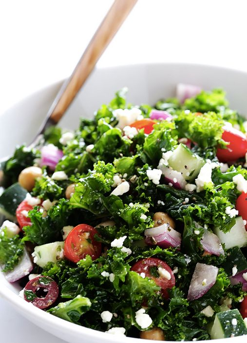 """<strong>Get the <a href=""""http://www.gimmesomeoven.com/chopped-kale-greek-salad-recipe/"""" target=""""_blank"""">Chopped Kale Greek Sa"""