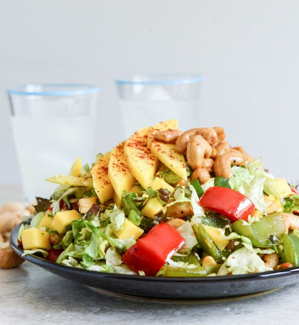 """<strong>Get the <a href=""""http://www.howsweeteats.com/2013/08/cashew-chicken-chopped-salad-with-chili-dusted-mango/"""" target=""""_"""