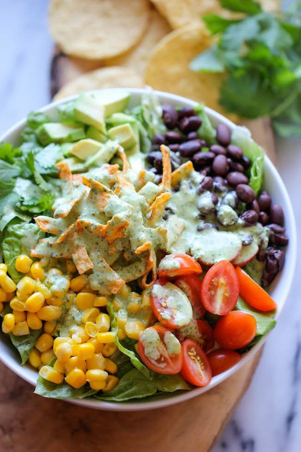 """<strong>Get the <a href=""""http://damndelicious.net/2014/01/10/southwestern-chopped-salad-cilantro-lime-dressing/"""" target=""""_bla"""