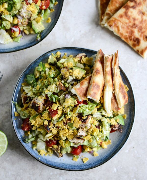 """<strong>Get the <a href=""""http://www.howsweeteats.com/2013/06/chopped-chicken-taco-salads-with-cheese-quesadilla-strips/"""" targ"""