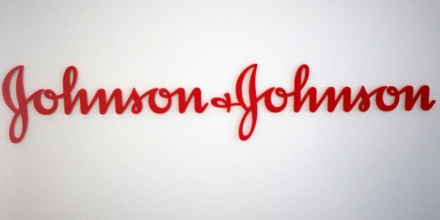 A logo sits on a wall inside Johnson & Johnson's innovation centre in London, U.K., on Thursday, July 18, 2013. Second-quarter sales rose 8.5 percent to $17.9 billion, helped by demand for the company's newer pharmaceutical offerings including the blood thinner Xarelto and the prostate cancer medicine Zytiga. Photographer: Simon Dawson/Bloomberg via Getty Images