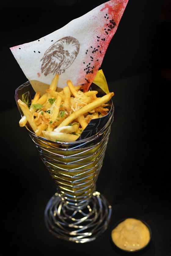 So what makes these Pilot's Pomme Frites? That famous staple of the cockpit, a dusting of parmesan and garlic.