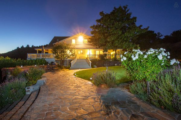 "This large property in California's wine country offers ""spectacular mountain-top views overlooking vineyards.""<br>  <strong>"