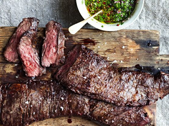 "<strong>Get the <a href=""http://food52.com/recipes/22170-skirt-steak-with-chimichurri-sauce"" target=""_blank"">Skirt Steak with"
