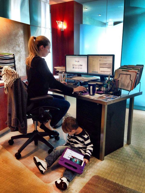 """""""It's 'The Sitter Called Out Sick So There's a Small Child Under My Desk Day' at the office!"""""""