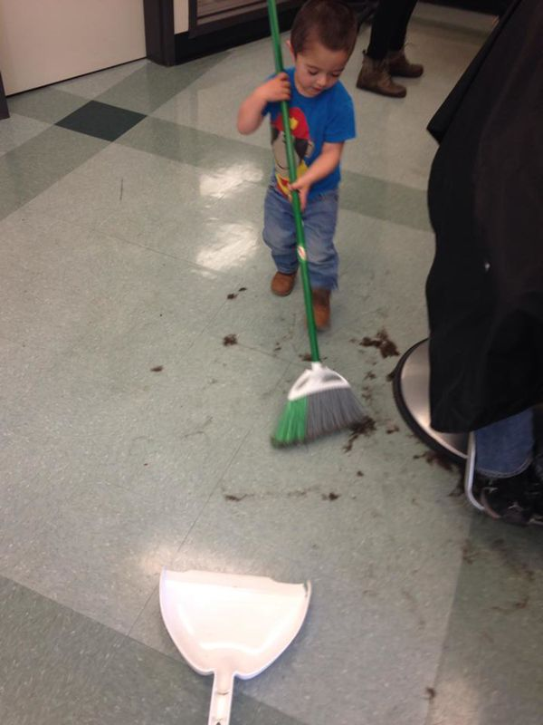 """""""My youngest helping me sweep after a haircut."""""""