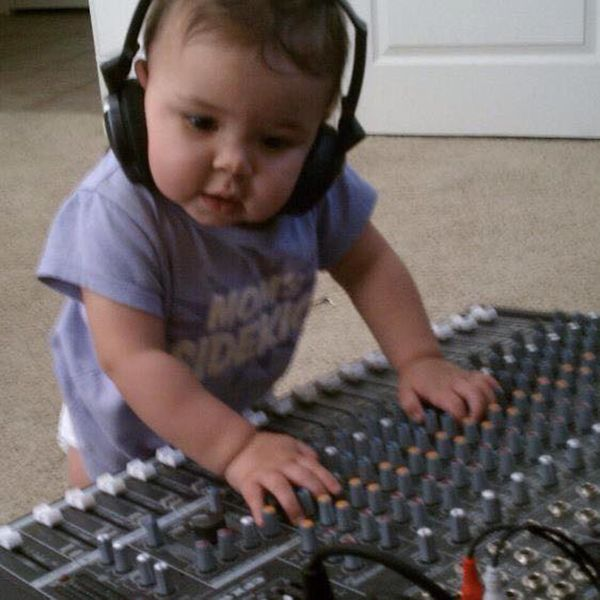 """""""Daddy is a DJ/audio engineer. Our little boog when she discovered his sound board!"""""""