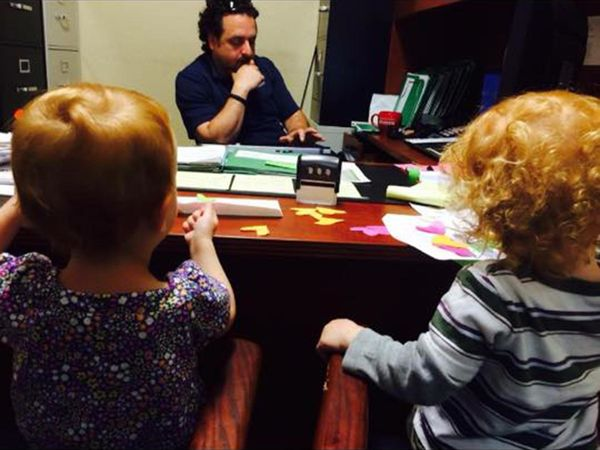 """""""Taking a meeting with daddy (and doing office supply art)."""""""