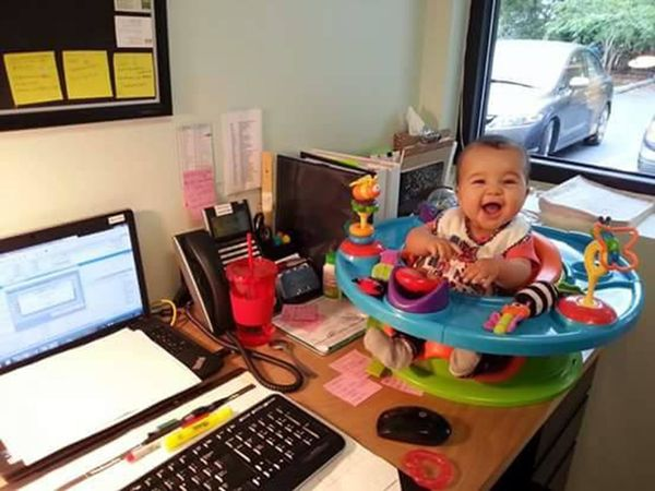 """""""I often brought my youngest to work with me if I had to go in on my days off. Here she is at 6 months old hanging out on my"""
