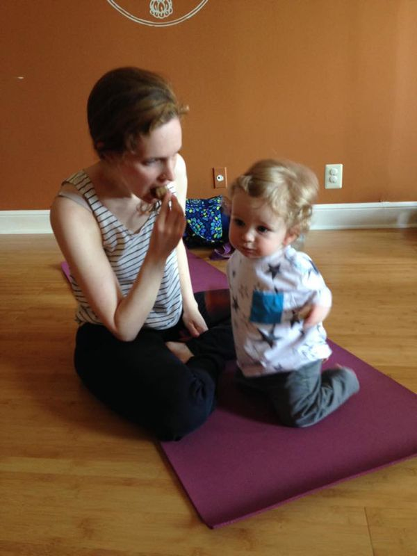 """""""I'm a yoga instructor; sometimes I teach Mom & Baby/Toddler classes. This is my son and I. It was his birthday so we had cup"""