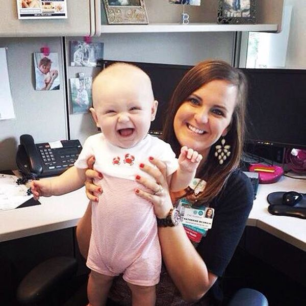 """""""Biggest perk of my day is when my husband has the day off and brings our son by the office to see me! Being a working mom is"""