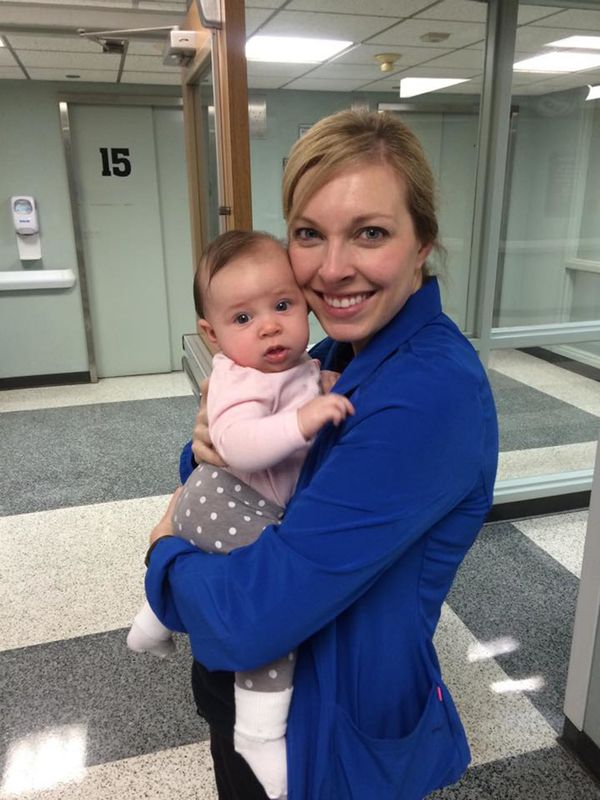 """""""Having a surprise visit from my little girl makes my day at the hospital."""""""