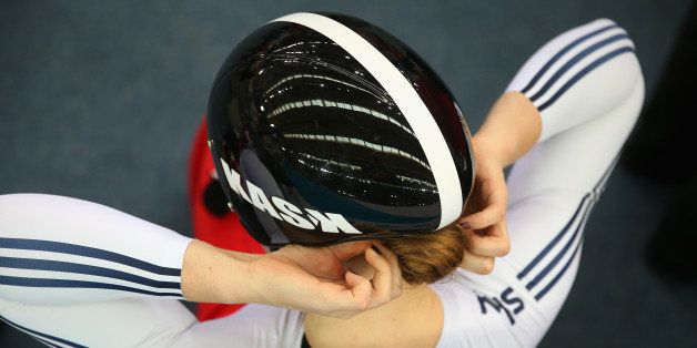 LONDON, ENGLAND - DECEMBER 06:  Jessica Varnish of Great Britain adjusts her helmet before competing in the Women's Sprint 1/8 Finals on day two of the UCI Track Cycling World Cup at the Lee Valley Velopark Velodrome on December 6, 2014 in London, England.  (Photo by Bryn Lennon/Getty Images)