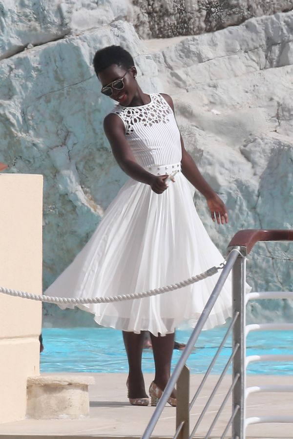 """<strong>Lupita Nyong'o in Oscar de la Renta:</strong>  It has been quite a week for Nyong'o, with <a href=""""http://www.huffing"""