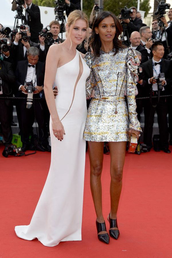 <strong>Doutzen Kroes in Versace and Liya Kebede in Louis Vuitton:</strong> This might be the most stylish duo we have ever s