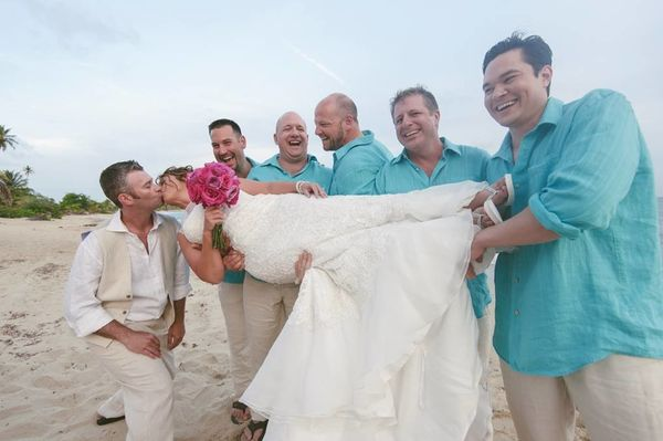"""""""Wendi Cook and Derek Narragon celebrated their marriage on Sun Bay in Vieques, Puerto Rico, on Saturday, May 9!"""" – Sandy Mal"""