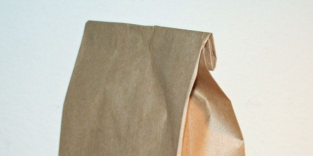 A brown bag lunch sack. No staple.
