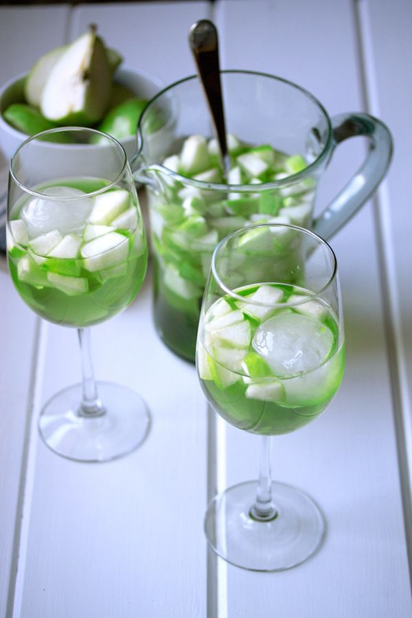 "<strong>Get the <a href=""http://cookswithcocktails.com/apple-and-pear-green-sangria/"" target=""_blank"">Apple And Pear Sangria"