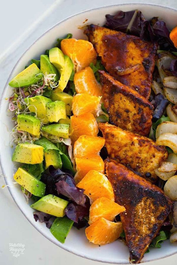 """<strong>Get the <a href=""""http://kblog.lunchboxbunch.com/2015/05/bbq-tempeh-avocado-sweet-potato-bowl.html"""" target=""""_blank"""">BB"""