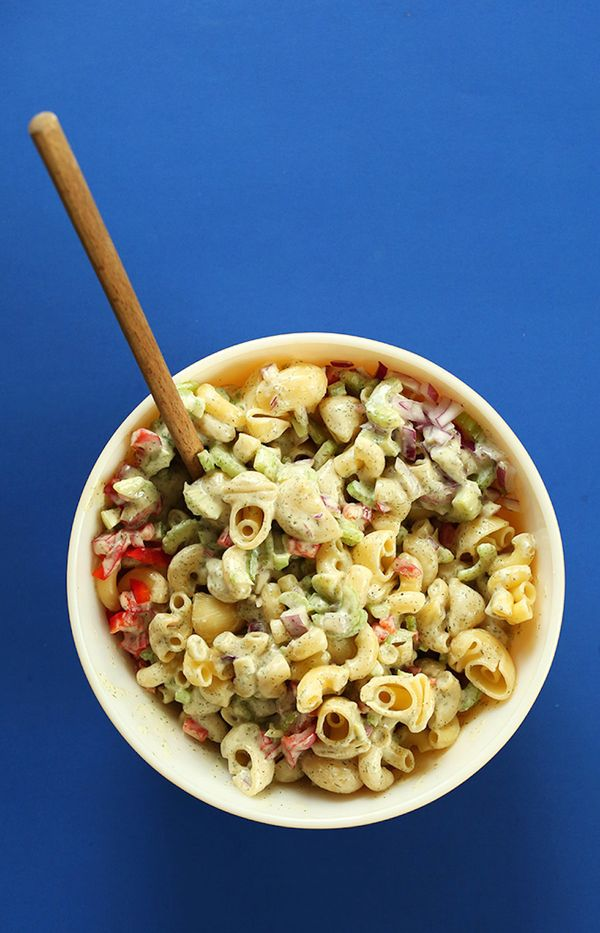 "<strong>Get the <a href=""http://minimalistbaker.com/vegan-macaroni-salad/"" target=""_blank"">Vegan Macaroni Salad recipe</a> fr"