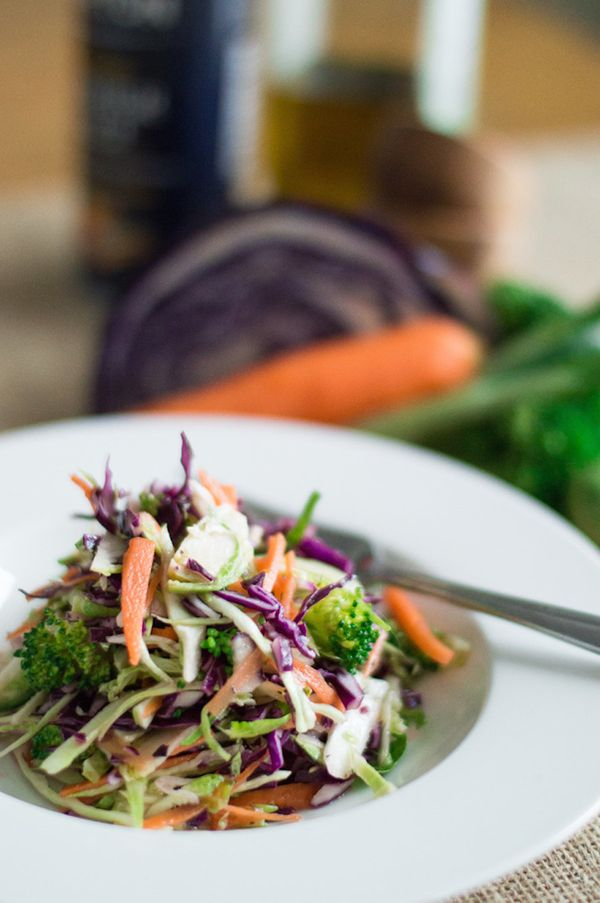 """<strong>Get the <a href=""""http://supermancooks.com/colorful-veggie-slaw/"""" target=""""_blank"""">Colorful Veggie Slaw recipe</a> from"""
