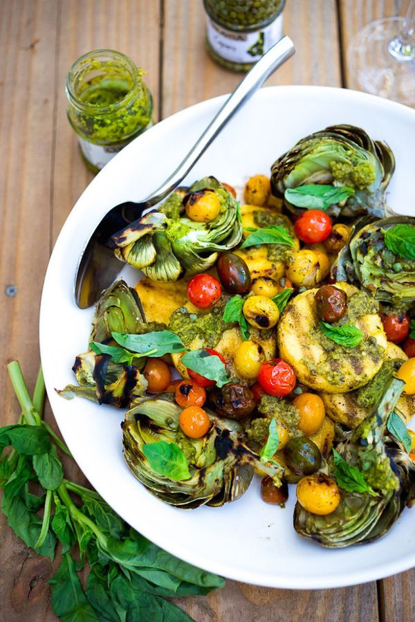 """<strong>Get the <a href=""""http://www.feastingathome.com/grilled-artichokes-and-polenta/"""" target=""""_blank"""">Grilled Artichokes &"""