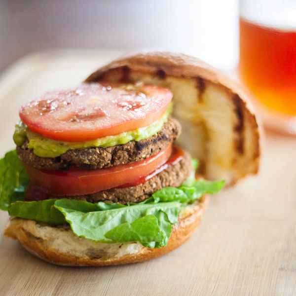 """<strong>Get the <a href=""""http://pinktrollkitchen.com/2014/11/20/vegan-gluten-free-black-bean-burgers/"""" target=""""_blank"""">Black"""