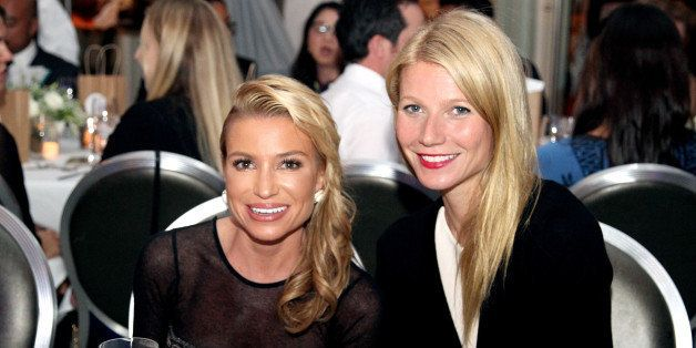 LOS ANGELES, CA - NOVEMBER 19:  imagine1day Leadership Awards Honoree Tracy Anderson (L) and actress Gwyneth Paltrow attend imagine1day Annual Gala Honoring Tracy Anderson at SLS Hotel at Beverly Hills on November 19, 2014 in Los Angeles, California.  (Photo by Rachel Murray/Getty Images for imagine1Day)