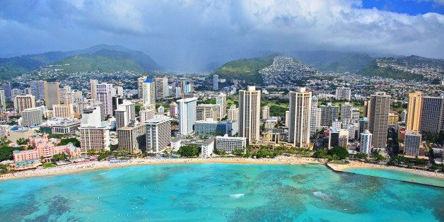 Waikiki Beach from a doors off ride with Genesis Aviation Helicopter Tours.