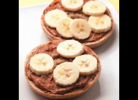 <strong>PREFECT FOR: </strong>Breakfast <br>Talk about a grab-and-go breakfast: this bagel topped with nut butter and banana