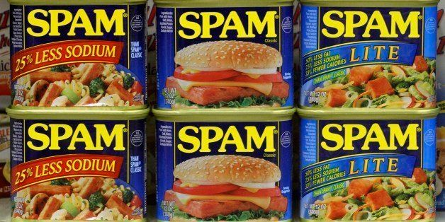 This photo taken Feb. 9. 2011, shows tins of Hormel Spam products on a shelf in a Bethel Park, Pa. Hormel Foods Corp.'s fisca