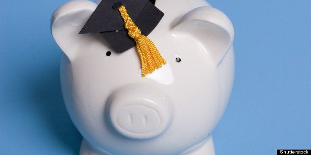 piggy bank with a graduation cap