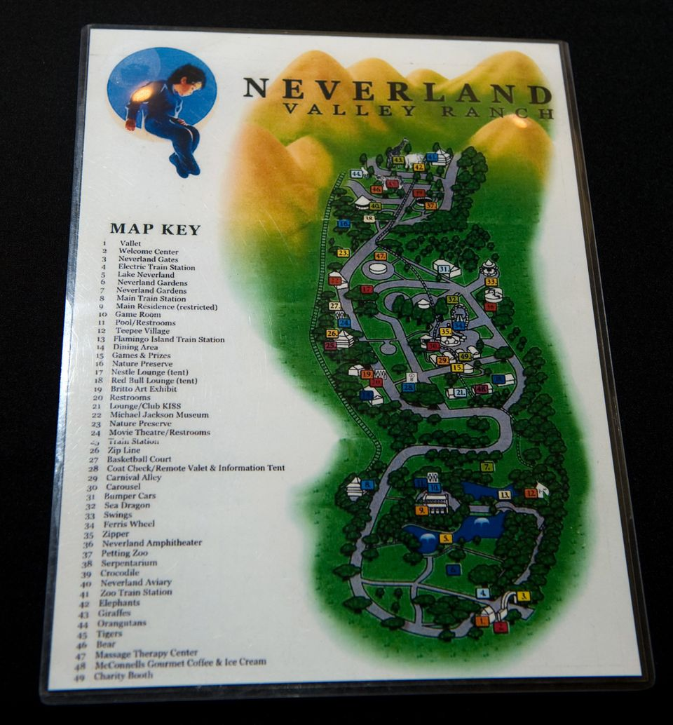 FILE - This Nov. 17, 2009 file photo shows Michael Jackson's Neverland ranch map at Julien's Music Icons Auction at the Hard