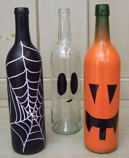 """Get the full instructions for <a href=""""http://www.laurasleanbeef.com/blog/halloween-wine-bottles/ """" target=""""_blank"""">these hol"""