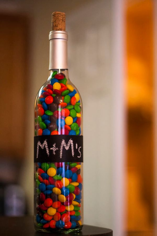 """Get the full instructions for <a href=""""http://www.instructables.com/id/Chalkboard-Painted-Wine-Bottle/"""" target=""""_blank"""">this"""