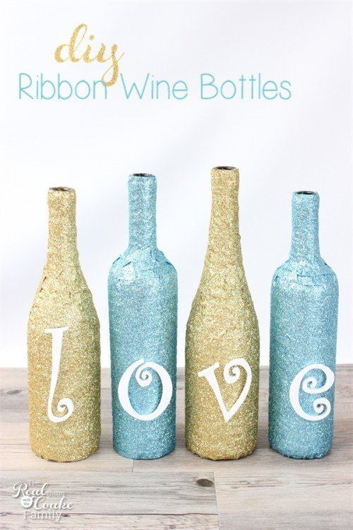 """Get the full instructions for <a href=""""http://www.realcoake.com/2015/01/glittery-wine-bottle-crafts.html"""" target=""""_blank"""">the"""