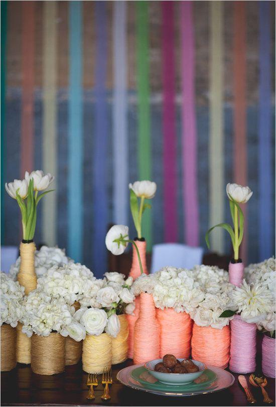 "Click over to Wedding Chicks to see how to make <a href=""http://www.weddingchicks.com/2012/06/04/rainbow-wedding-ideas/"" targ"
