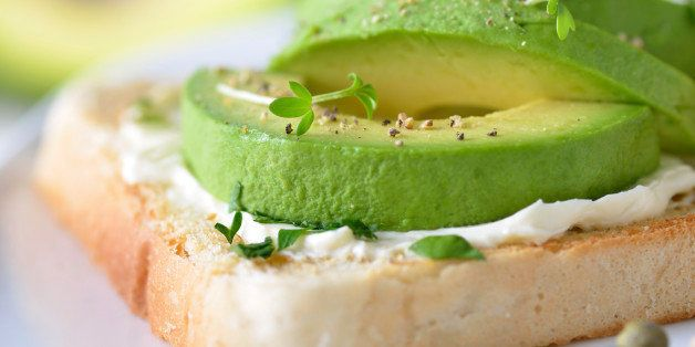 'Toast with cream cheese, ripe avocado and cress'