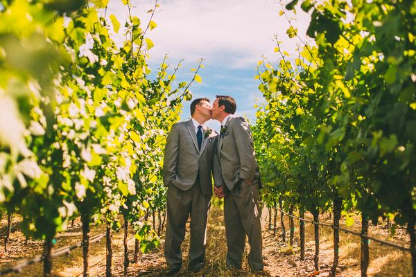 """""""Jarrod and Bradley had the most magical wedding at the Thomas George Estates Winery in California's Russian River Valley!"""" -"""