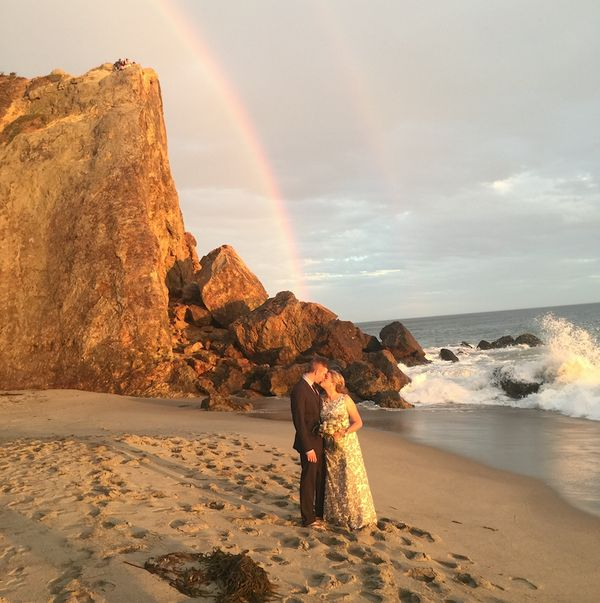 """""""Just after they are pronounced husband and wife at Point Dume in Malibu, they kissed and a double rainbow appeared."""" - Alan"""