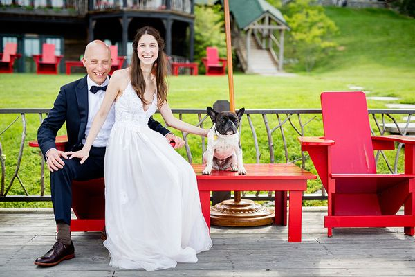 """""""Allie and JP with their french bulldog George at the Lake Placid Lodge in Lake Placid, New York."""" - Tracey Buyce"""