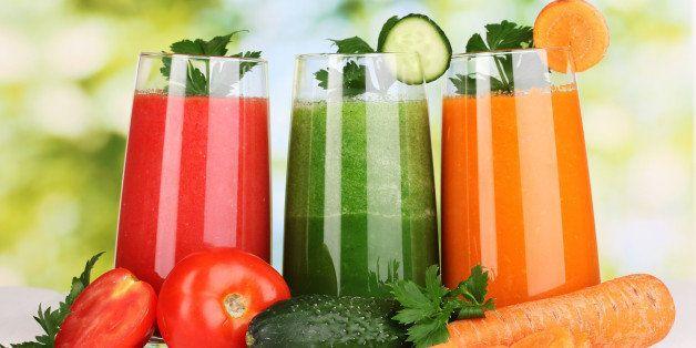 fresh vegetable juices on...