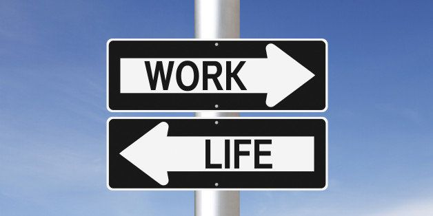 Conceptual one way signs on work life balance