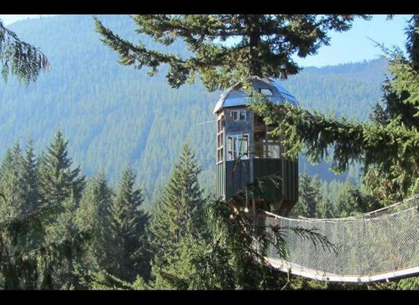 <em>Courtesy of Cedar Creek Treehouse</em>  Where: Ashford, Washington  Ascend five stories above the forest floor to the Ced