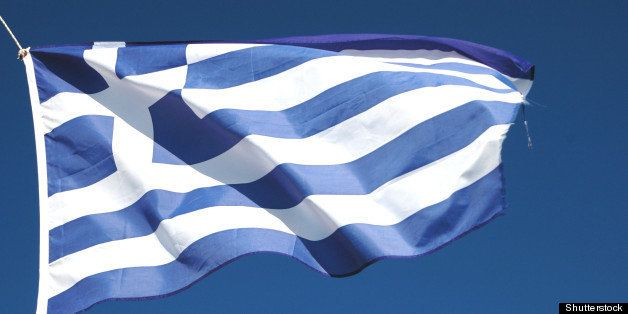 flag of greece waving in the...