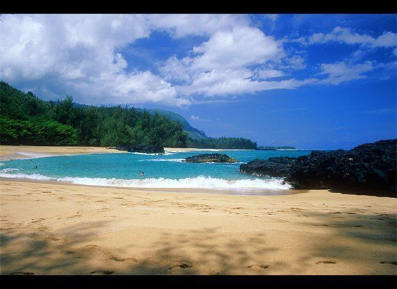 All beaches in Hawaii are public. Even if they're at a fancy resort, or surrounded by a gated community, or bordered by priva