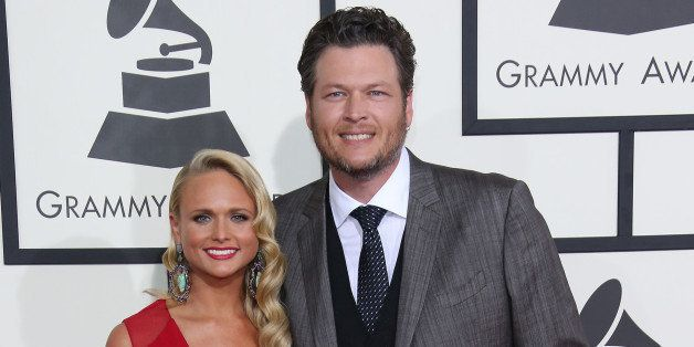 LOS ANGELES, CA - JANUARY 26: (L-R) Miranda Lambert and Blake Shelton arrive at the 56th Annual GRAMMY Awards at Staples Cent