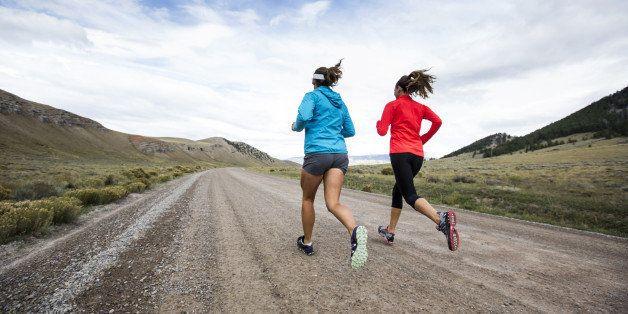 Two women running for exercise