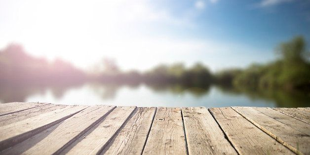 old wooden pier on the  lake.