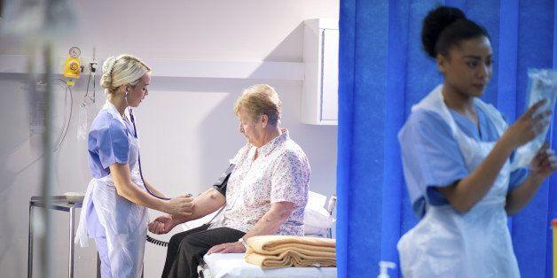 senior woman has hospital check
